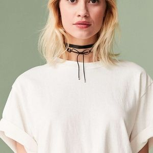 Urban Outfitter Black Ribbon Tie Choker Necklace